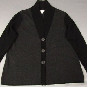 Coldwater Creek Black/Gray Button Front Sweater 2X